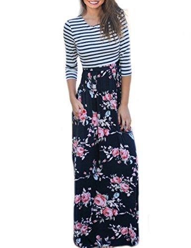 Length Sleeve Tie (SUNNOE Women's Floral Printed 3/4 Sleeve Scoop Neck Tie Waist Party Maxi Long Dress Floor Length With Pocket (Medium, Black Striped))