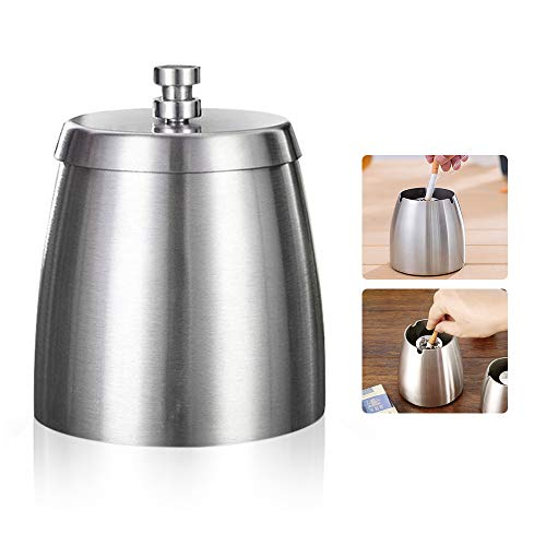 SONGZIMING Large Ashtray with Lid Stainless Steel Cigarette Holder for Outside/Inddor/Patio/Home/Office Decor(Silver)