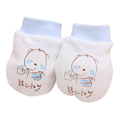 (Livoty 2 Pairs Cute Cartoon Baby Infant Boys Gitls Anti Scratch Mittens Soft Newborn Gloves Gift (blue))