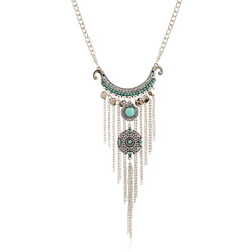(FOTTCZ Fashion Bohemian Necklace, Turquoise Vintage Metal Tassel Pendant, Silver Ethnic Holiday Style Neck Chain for Women Girls)