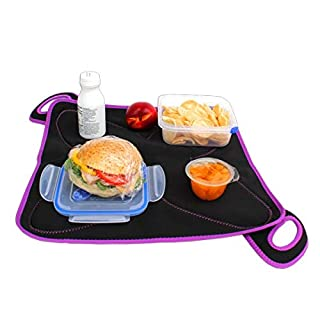 Convertible Neoprene FlatBox Lunch Box & Placemat for School, the Office and Travel - Machine Washable Lunch Tote for Easy Clean & Germ-Free Meals - Original (Black/Purple) (B00IUPHCHQ) | Amazon price tracker / tracking, Amazon price history charts, Amazon price watches, Amazon price drop alerts