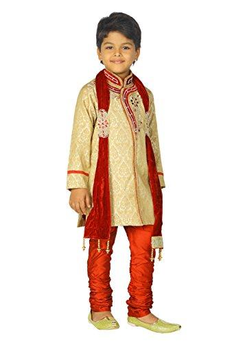 Ahhaaaa Kids Ethnic Indian Handwork Sherwani and Breeches Set With Dupatta Set for Boys by ahhaaaa (Image #2)