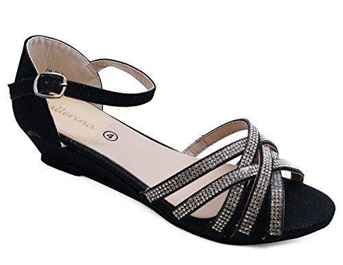 HeelzSoHigh Ladies Black Diamante Low Wedge Comfy Strappy Evening Party Sandals Prom Shoes Sizes 3-8 WZLGHKag