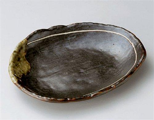 TETSU-GLAZE Jiki Japanese traditional Porcelain Set of 2 Medium Oval Plates