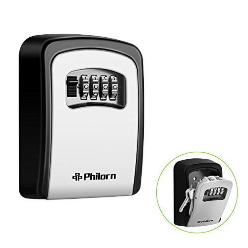 PHILORN Key Lock Box, 4-Digit Combination Lockbox | Resettable Code - Weatherproof - Wall or Door Mounted | Top Security, Ultra-Sturdy Key Safe for Jewelry, Card, House Key Storage by PHILORN