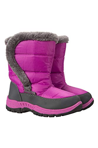 Mountain Warehouse Caribou Single Stripe Kids Snow Boot - Winter Shoe Purple 2 Child US