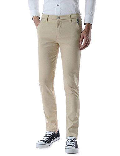 Pants Dress Cream ((TLP882) Mens Slim Fit Button Decoration Flat Front Straight Cotton Dress Pants BEIGE 32W/31L(Tag size L))