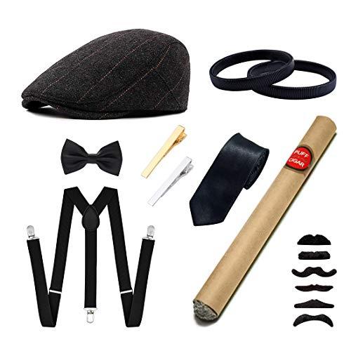 Ziyoot Men's 1920s Accessories Gatsby Gangster Costume Set Gangster Beret Y-Back Suspender Classic Satin Bow Tie Men's Necktie Tie Clips Set for Men Elastic Sleeve Armbands (02 Grid - Set Beret
