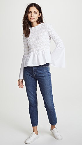 endless rose Women's Smocked Poplin Top, Off White, Small by endless rose (Image #5)