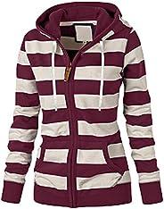 Women's Zip-Up Hoodie Stripe Plus Size Hooded Sweatshirt with Pocket Fall Casual Long Sleeve Jacket Coat S