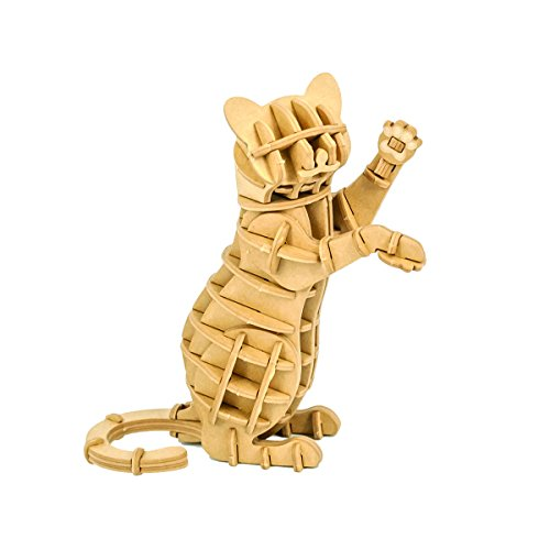JIGZLE Standing Cat 3D Paper Puzzle DIY Kit - Laser Cut Miniature ()