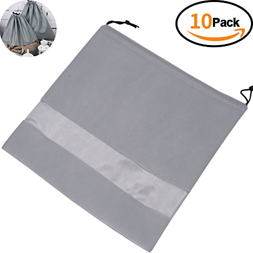 """TINTON LIFE Set of 10 Non-woven 19.7""""x19.7"""" Drawstring Dust Cover Bag with Visual Window for Handbags Purses Shoes(Grey)"""
