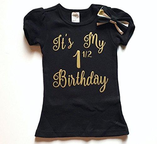 It's My Half Birthday, Girl's Birthday Shirt, Black and Gold