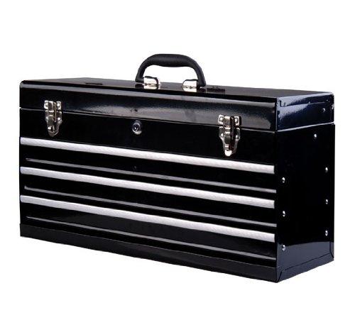 Coffret caisse boite a outils metallique avec 3 tiroirs noir 54 x 22 x 29 cm
