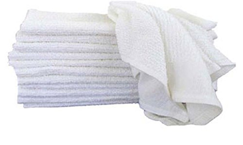 GHP Pack of 48 White Heavyduty 28oz 100% Cotton Terry 16'' x 19'' Kitchen Towels