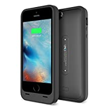iPhone 5S Battery Case, UNU AERO Wireless iPhone 5S Case with Charging Pad [Black/Black]1 YR -2400mAh Portable Charger, External Juice Power Bank and Charging Case[MFI Apple Certified]