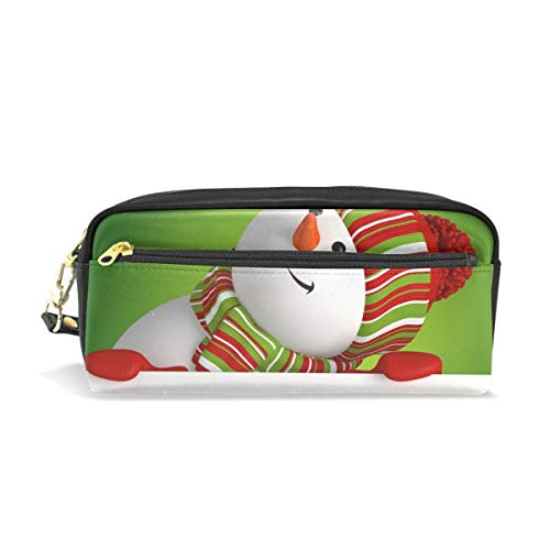 Snowman Banner Christmas Greeting Portable PU Leather Pencil Case School Pen Bags Stationary Pouch Case Makeup Cosmetic Bag Large Capacity