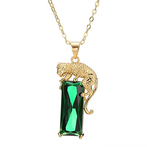 Mens Hip Hop Necklace Gold Plated Leopard Set With Diamond&Green Crystal Pendant Iced Out Cuban (Diamond Unisex Necklace)