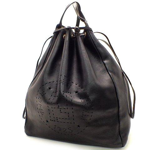 FENDI(フェンディ) 巾着ハンドバッグ 鞄 レザー ブラック ゴールド金具 黒 金 ★ 18010946【中古】【アラモード】 B07CGH9FM8