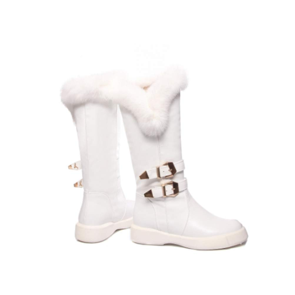 White T-JULY Women Boots Woman Winter shoes Mid Calf Double Buckle Strap Real Rabbit's Hair
