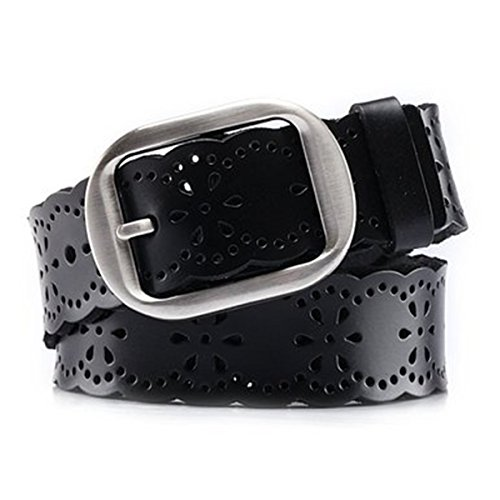 JasGood Fashion Women's Genuine Leather Waist Belt With Alloy Buckle, - Belt Ladies Black