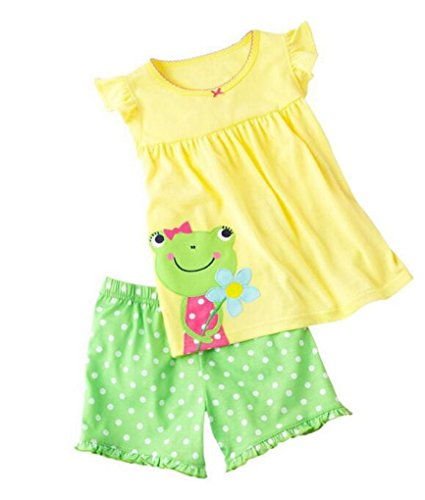 Pandaprince Shorts Little Girl Frog 2 Piece Pajama Shorts 100% Cotton (Size 18m-6T) (2T, Yellow)