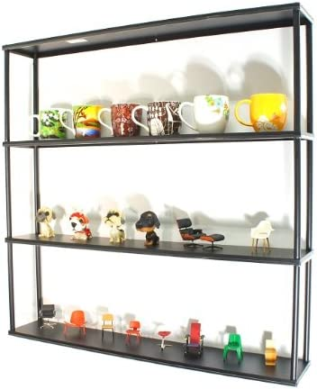 Mango Steam Wall-Mounted Steel Shelving Unit – 36 H x 36 W x 6 D Inches- Black – for Kitchen, Storage, or Display Use.