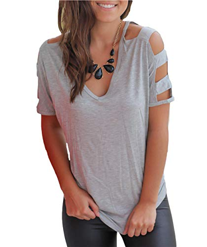 Eanklosco Womens Summer Short/Long Sleeve Cold Shoulder T Shirts Cut Out Tops V Neck Tunic Blouses (Gray, M) Back Womens V-neck T-shirt
