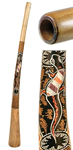 Painted in Dotpaint Style. Teakwood didgeridoos are made of branch pieces. They are perforated and similar in the sound to the eucalyptus instruments. They have a good counter - pressure and allow a complete play. They are cheaper than eucalyptus did...