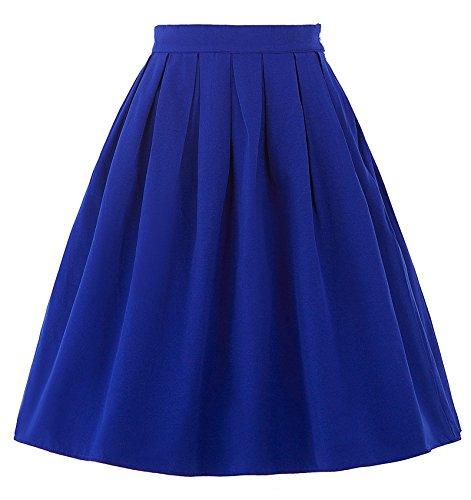 Belle Poque Women Blue Pleated Skirt Vintage A Line Circle Skirt Size S BP154-3 (Pleated Skirt Circle Full)