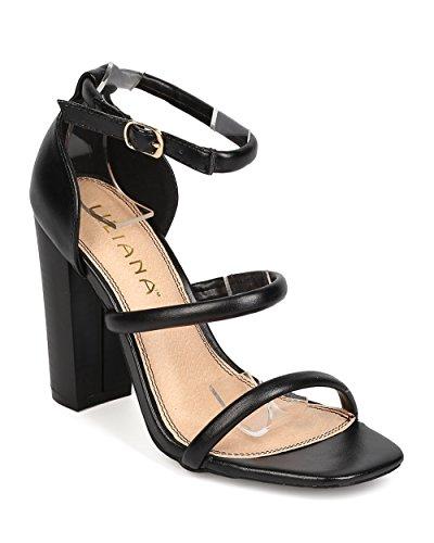 - Liliana Women Leatherette Open Toe Triple Strap Chunky Heel Sandal FA72 - Black (Size: 8.5)