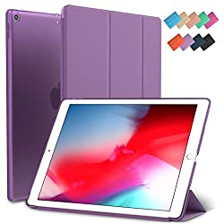 iPad Mini 5 Case, ROARTZ Purple Slim-Fit Smart Rubber Folio Hard Translucent Frosted Cover Light-Weight Wake Sleep for Apple iPad Mini 5th Generation 2019 Model A2133 A2124 A2126 7.9-inch Display