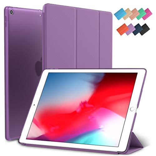 (iPad Mini 5 Case, ROARTZ Purple Slim-Fit Smart Rubber Folio Hard Translucent Frosted Cover Light-Weight Wake Sleep for Apple iPad Mini 5th Generation 2019 Model A2133 A2124 A2126 7.9-inch)