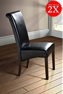 Julian Bowen Hudson Faux Leather Dining Chairs, Black, Set of 2 ...