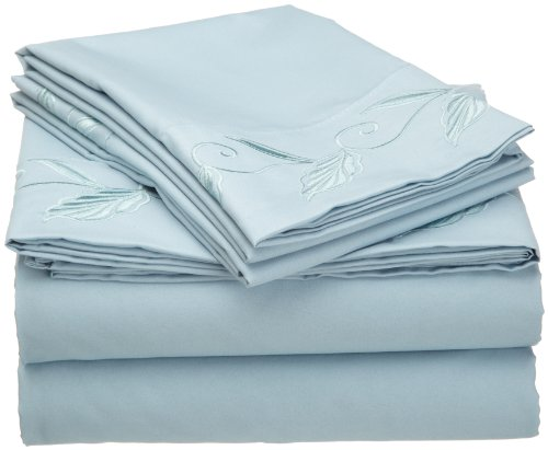 Cathay Home Fashions Luxury Silky Soft Leaf Design Embroidered Microfiber Queen Sheet Set, Light Blue