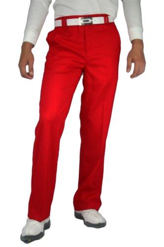 CaPantzzi Men's Stretch Flat Front Pants - Red - 36