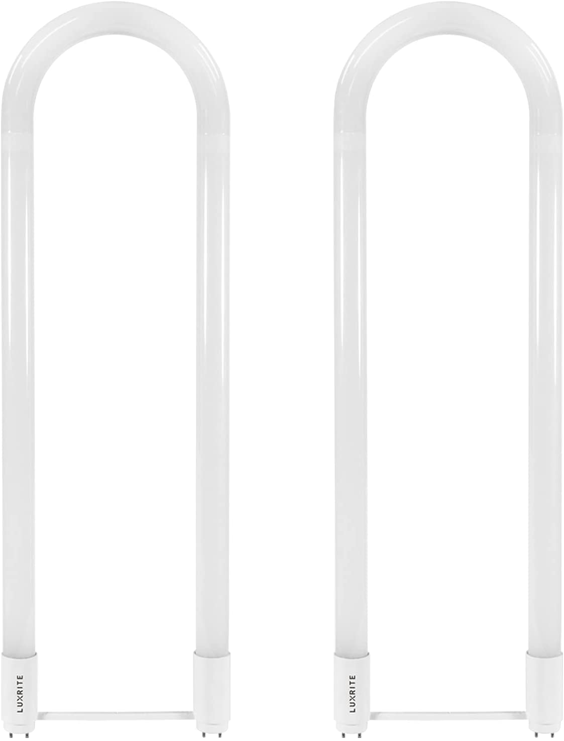 Luxrite U Bend LED Tube Light, T8 T12, 18W (32W Equivalent), 5000K Bright White, 2200 Lumens, Fluorescent Light Tube Replacement, Direct or Ballast Bypass, DLC and ETL Listed, G13 Base (2 Pack)