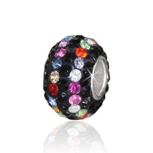 Materia strass perles perles boule argent 925–Cristal Pendentif Noir pour bracelet/chaîne # 632