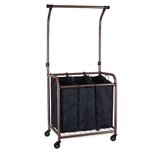 Household Essentials 3-Bag Laundry Sorter with Hanging bar, Copper by Household Essentials