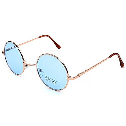 MEIHAOWEI Cadre Vintage de Steampunk Blue Or 70S Lunettes soleil Rond 60S 1zr1Ua7