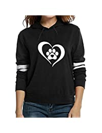 KpopBaby Womens Fashion Print Long Sleeve Hooded Solid Pullover Tops Blouse Shirt