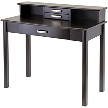 Amazon Com Winsome Wood Velda Writing Desk With 2 Shelves