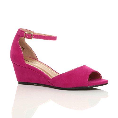 Ajvani Fuchsia Femme pour Sandales Pink Suede qCqF0HwS