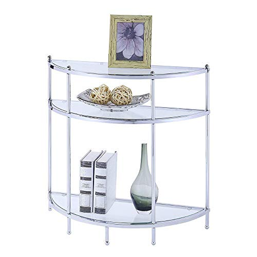 - Hall Console Table Small Entryway Table Metal and 3 Glass Shelves Silver End Table Narrow Half-Moon Shape Sleek Furniture Functionality Unique Contemporary Design Living Room Modern & eBookBADA Shop