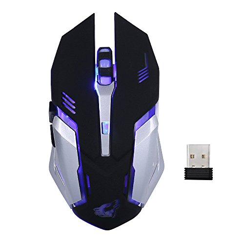 Ratón inalámbrico para juegos Lanker - Ratón óptico USB Silence Click, 3 DPI ajustables, 6 botones, 7 luz de fondo respirable cambiante - GM07 negro