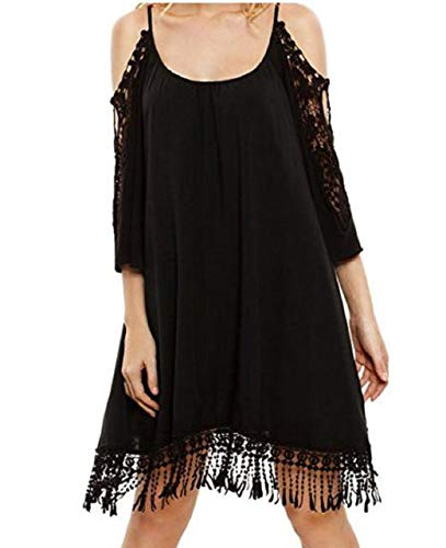 Lapiness Women's Swing Tunic Dress Cold Shoulder Lace Trumpet Sleeve Loose Summer (Black, X-Large)
