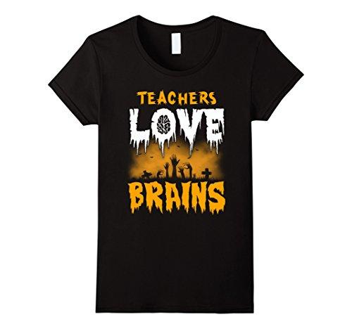 Best College Halloween Costume Ideas Guys (Womens Teachers Love Brains Halloween T-Shirt XL Black)