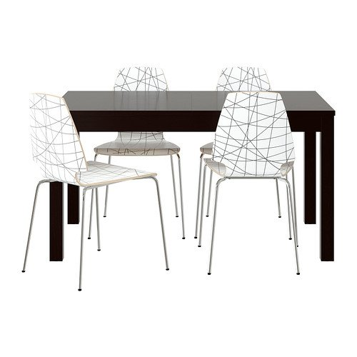 Ikea Table and 4 chairs, brown-black, stripe black 202020.51711.2610