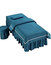Chilechuan Spa-behandeling schoonheidssalon massagetafel bed rok, massagetafel cover schoonheidssalon sprei 4-delig licht luxe nieuwe dikke massagetherapie laken bed cover (Grootte: 60 * 180cm)