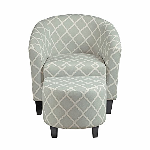 Pulaski DS-2278-900-5 Upholstered Barrel Accent/Living Room Chair and Ottoman, Grey